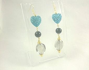 Crystal Heart, Pearl & Transparent Bead Drop Earrings