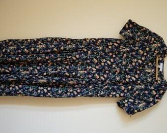 Vintage 90s Dark Blue Floral Button-down Dress
