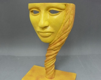 NATIVE - original sculpture, decor object, gift item, yellow granite stone finish