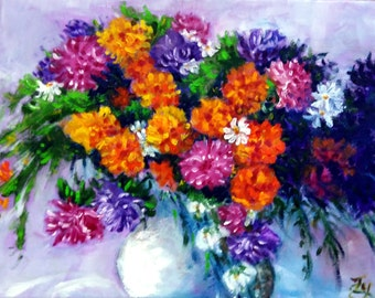 "Original Oil Painting, Flower in Vase--Still life, pink, orange, red, 60028, 16""x20"""
