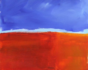 Change of Season 12x12 Original Abstract Landscape Painting by Courtney Simms blue red orange green