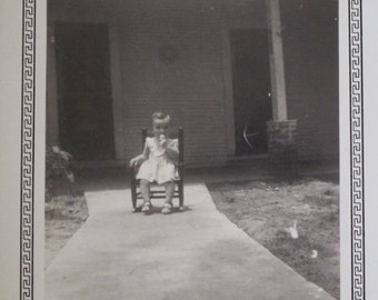 1948 Vintage Black and White Photograph ~ Little Girl Sitting on Chair in Front of House