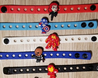 10  Black Widow Superhero Silicone Bracelets Party Favors