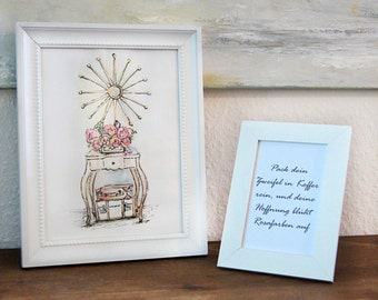 Gift set, thank-you gift, Prints of Watercolor and Text, Present, Fine Art Print of Watercolor, Picture, Framed