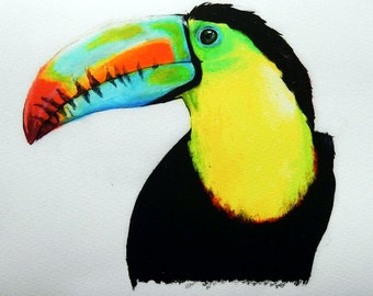 Toucan art print, Exotic Tropical Bird Artwork, toucan painting, wall art, colorful bird print, animal home decor, gift for all occasions