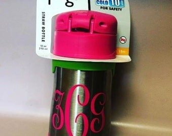 Foogo Thermos Monogrammed stainless steel child's sippy cup. Kid's juice cup with personalized name or initials. Children's drink for school