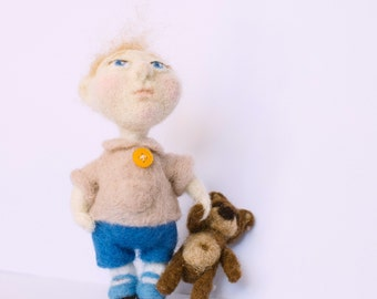 Art doll. Boy with bear. Needle felted doll. Interior toy.