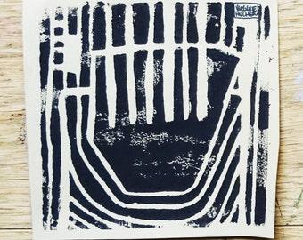 Composition 2 linocut black