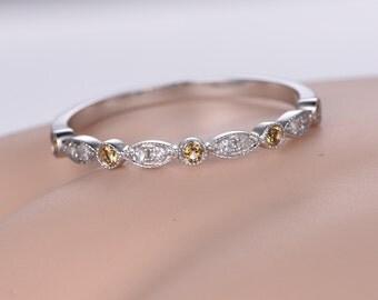 Milgrain citrine Diamond wedding band 14k white gold half eternity ring,engagement ring stacking matching band anniversary ring Marquise set