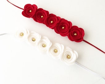 Felt Flower Headband - Red large flower headband - white large flower headband - baby headbands - girls hair accessories