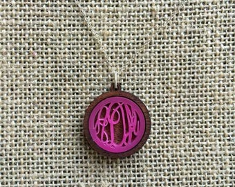 Acrylic Raleigh Monogram Bezel Necklace