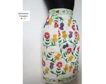 1960s Retro Apron, Half Apron, Floral, 1950s, Hand Block Painted, Housewife, Cook, Baker, Vintage Kitchen, Retro Kitchen