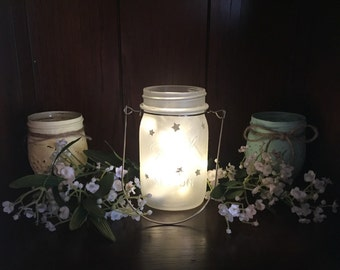 Mason Jar Lights, Lantern, Frosted Mason Jar, Star Mason Jar, Nightlight, Lights