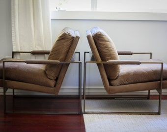 Pair of Milo Baughman for Thayer Coggin Bronze Lounge Chairs