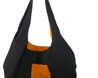 Denim Shoulder/Hobo Bag (Orange) Fully Reversible