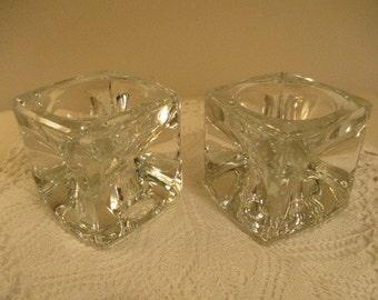Vintage Czech Crystal Candle Holder Block Design