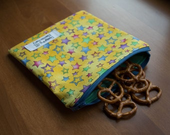 Yellow Stars Reusable Snack or Sandwich Bag