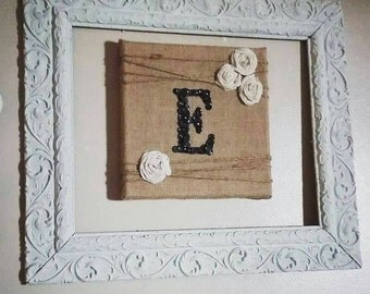 Custom button monogram on burlap canvas with rosettes, made to order initial, rustic/country chic wall decor