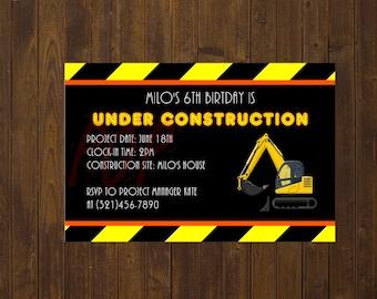 Construction Birthday Invitation, Under Construction, Personalized Construction Birthday Invitation, Printable, Digital File
