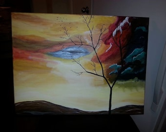 Sunset storm canvas painting