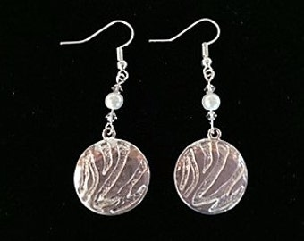 Textured silver disc earring with pearl and crystal