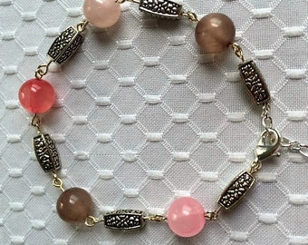 Pink, coral and taupe glass bead bracelet
