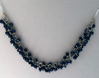 Midnight blue crystal cluster necklace