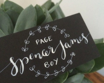 Hand written chalkboard name tags - laurel decoration