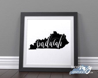 Handlettered Paducah, Kentucky Black & White Poster Print Typography Poster Print, Home Decor, Office Decor, Kentucky