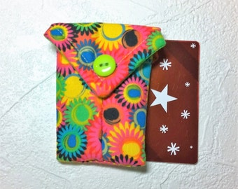 Cute, Brightly Colored Fabric Business Card Pouch / Credit Card Pouch / Gift Card Holder