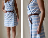 Wrap dress with blue and white stripes / Vintage clothing / Size Medium / US 8 10 / UK 10 12 / EU 38 40
