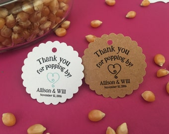 Popcorn favor tags, ready to pop, thank you favors, thank you for popping by
