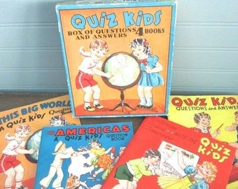 Quiz Kids Question And Answer Books Set of four Boxed Set Complete With ALL 4 Books 1940's