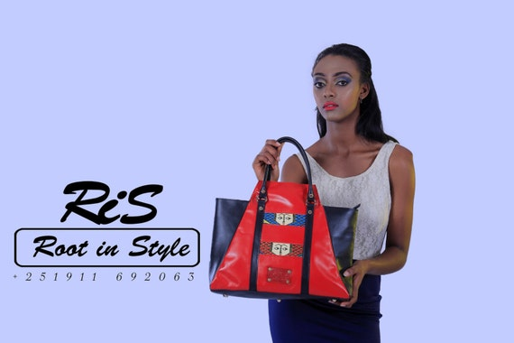Red Leather bag, women red leather, women leather bag, women leather tote, leather purse, black and red leather, black leather bag, gift