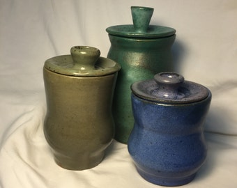 Stoneware Canister Set, with lids
