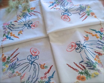 Hand Embroidered Crinoline Lady Vintage Linen Tablecloth