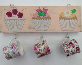 Hand painted cupcake canvas key/cup hooks