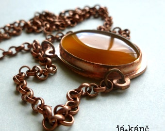 agate copper necklace, copper pendant,