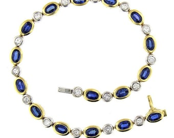 7.35 Ct Yellow & White Gold Bezel Set Sapphire AndDiamond Bracelet 18 Kt