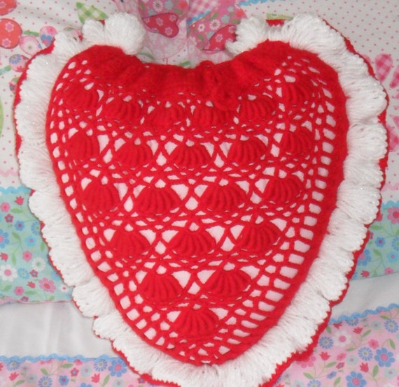 Large Heart Shaped Crochet Cushion Pillow In Red Pink Peach