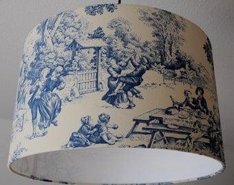 """Ceiling lamp """"toile de Jouy Festin"""" (blue)"""