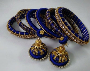 Silk thread woven bangles and earrings set
