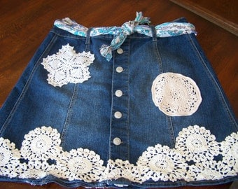 Size 14 Denim and Doily Upcycled Skirt