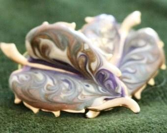 Vintage Painted Gold Plated Leaf Earrings