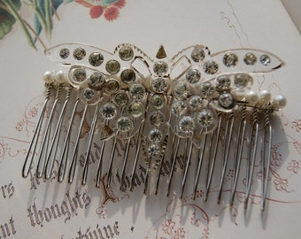 Vintage Butterfly Hair Comb - Lucite & Diamante- Bridal / Wedding Hair Accessories