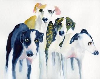 Whippet, whippet art, whippet watercolor, whippet portrait, whippet print, whippet nursery, whippet dog