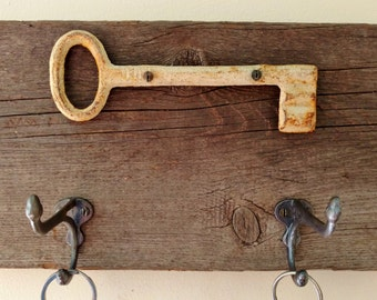 Key Holder ~ made with Reclaimed Wood and a Vintage Metal Key