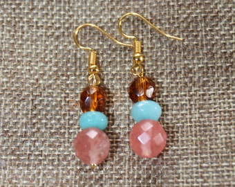 Pink, Blue Agate and Amber Glass Earrings (gold)