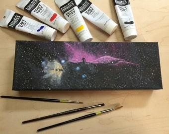 "Horsehead & Flame Nebulae Acrylic Painting on Canvas 12""x4"""