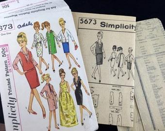 "Vintage 1960s Orig 11 1/2"" Doll Pattern / 5673 Simplicity Mod Barbie Doll Sewing Pattern Uncut"